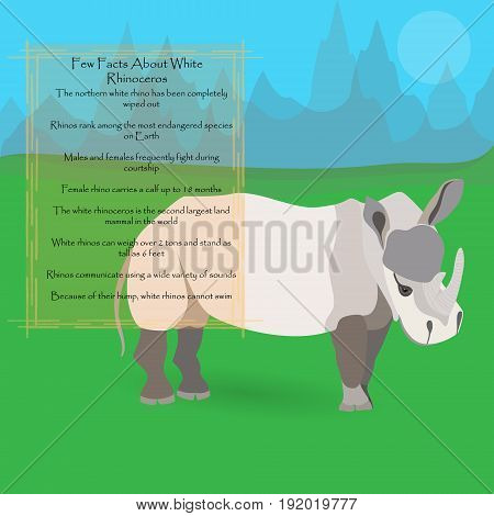 African White Rhinoceros Against Symplistic Nature Background and Poster with Few Interesting Facts about this Animal. Educational Card for Childrens Schooling. Vector EPS 10