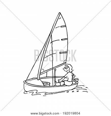 man ride sail. windsurfing. cartoon Vector Illustration design