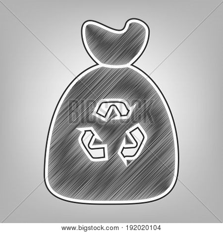 Trash bag icon. Vector. Pencil sketch imitation. Dark gray scribble icon with dark gray outer contour at gray background.