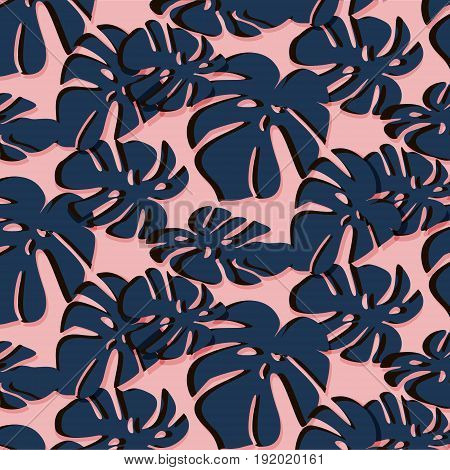Tropical Leaf summer pattern. Trendy floral beach design in dusty rose and navy colors of 2017. Paradise plant texture print. Exotic botanical abstract decoration.