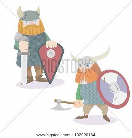 Two viking warriors characters vector flat style illustration