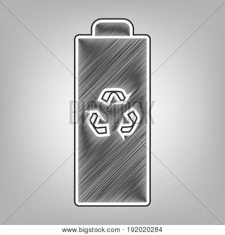 Battery recycle sign illustration. Vector. Pencil sketch imitation. Dark gray scribble icon with dark gray outer contour at gray background.