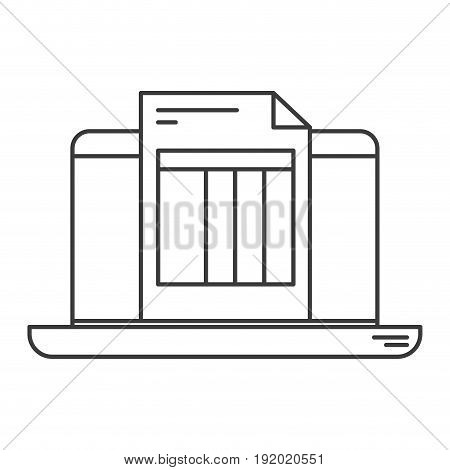 monochrome silhouette of laptop computer and billing sheet vector illustration
