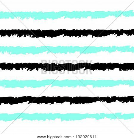Seamless stripes pattern vector background with horizontal hand drawn like black and aqua blue lines white backdrop
