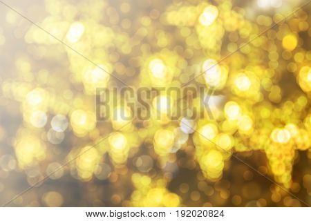 Abstract yellow bokeh Christmas background. Modern simple flat sign. Trendy valentine decoration symbol for website design.