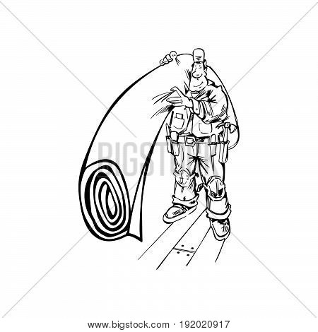 Hand-drawn Vector illustration of a Floor or Carpet Man