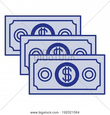 blue silhouette of money bills set vector illustration