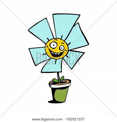 happy sunflower cartoon . Vector Illustration design