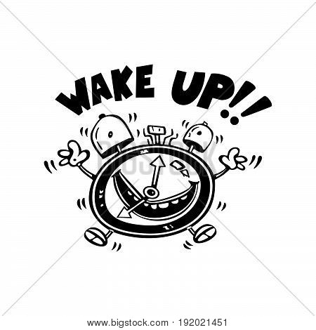wake up alarm cartoon . Vector Illustration design