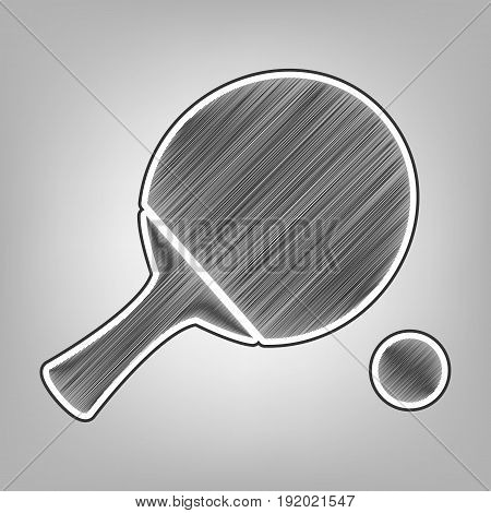 Ping pong paddle with ball. Vector. Pencil sketch imitation. Dark gray scribble icon with dark gray outer contour at gray background.
