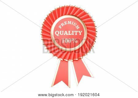 premium quality 100% award prize medal or badge with ribbons. 3D rendering isolated on white background