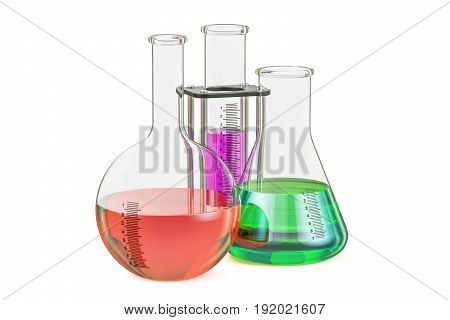 Set of chemical flasks with colored liquid 3D rendering isolated on white background
