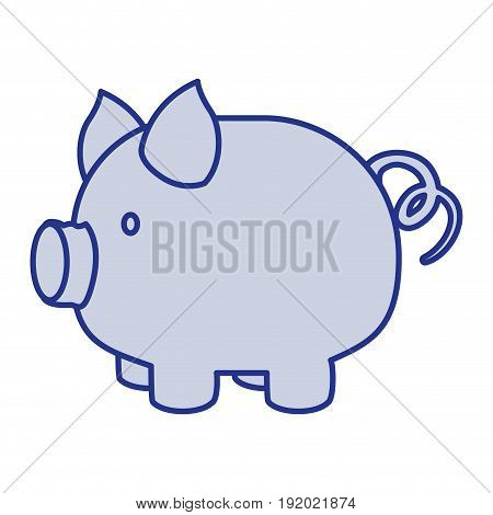 blue silhouette of piggy bank vector illustration