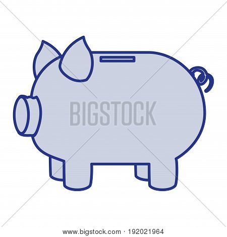 blue silhouette of moneybox in shape of pig vector illustration