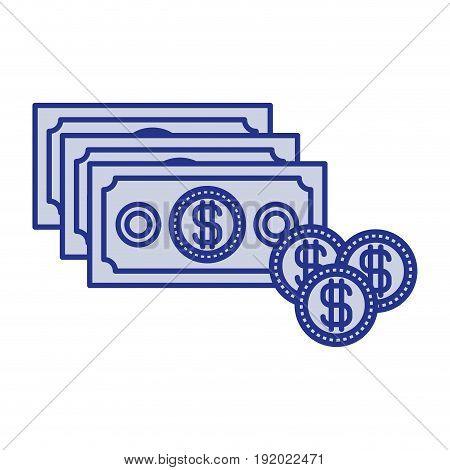 blue silhouette with money bills and coins set vector illustration