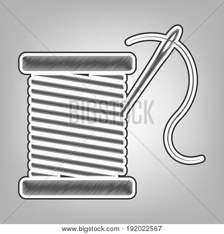 Thread with needle sign illustration. Vector. Pencil sketch imitation. Dark gray scribble icon with dark gray outer contour at gray background.