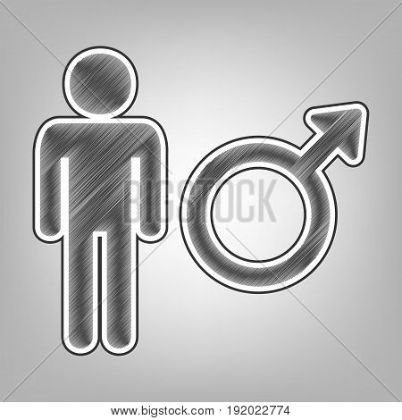 Male sign illustration. Vector. Pencil sketch imitation. Dark gray scribble icon with dark gray outer contour at gray background.