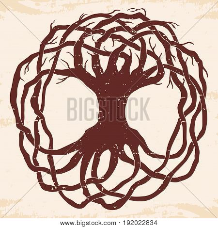 Celtic national ornament tree with leaves in the shape of a circle. Brown pattern with the aging effect on a beige background.