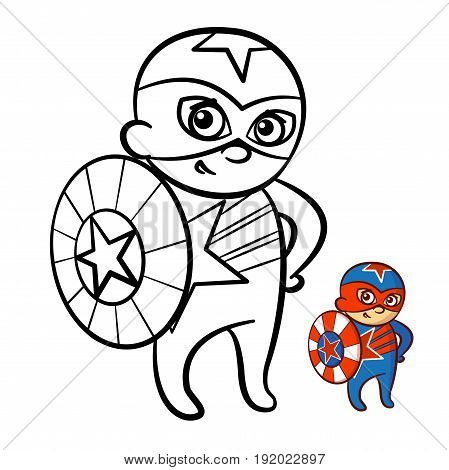 Superhero Boy Coloring Book. Comic character isolated on white background Vector Illustration