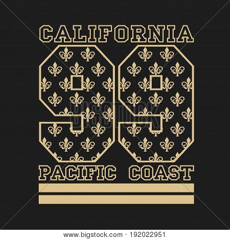 T-shirt California sports athletics Typography Fashion college sport design clothing