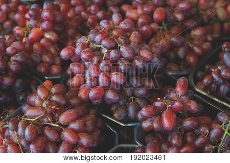 Grape For Sale On Farmer's Market. Agriculture Background. Close-up. Top View