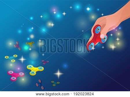 Fidget spinner dark blue background with hand holding trendy anti-stress toy, colorful 3d rotating gadgets and bright lights vector illustration