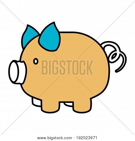 color sections silhouette of piggy bank vector illustration