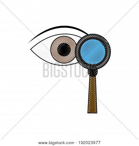 eye magnifying glass analysis business element icon