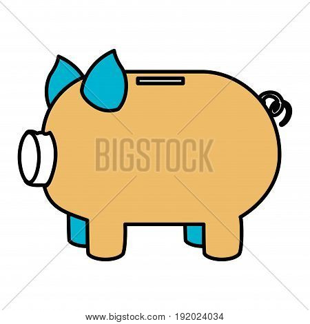 color sections silhouette of moneybox in shape of pig vector illustration