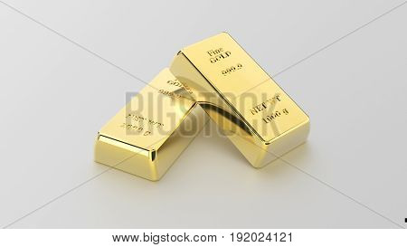 3D illustration closeup pyramid of two shiny gold bars on a grey background