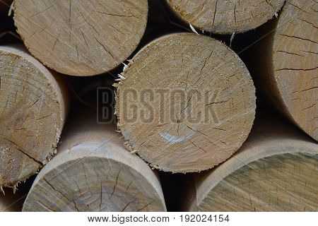 Closeup of chopped firewood. Pile of wood logs. Natural wooden background.