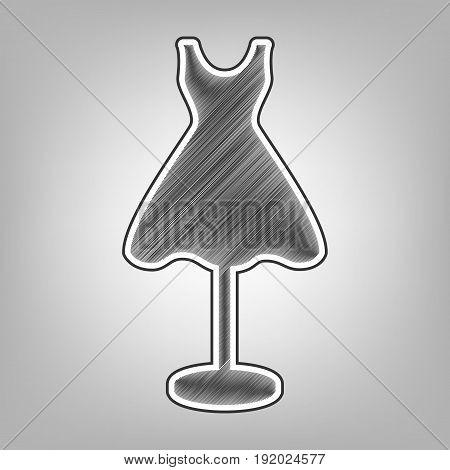 Mannequin with dress sign. Vector. Pencil sketch imitation. Dark gray scribble icon with dark gray outer contour at gray background.