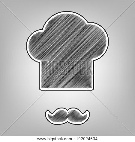 Chef hat and moustache sign. Vector. Pencil sketch imitation. Dark gray scribble icon with dark gray outer contour at gray background.