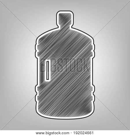 Plastic bottle silhouette sign. Vector. Pencil sketch imitation. Dark gray scribble icon with dark gray outer contour at gray background.
