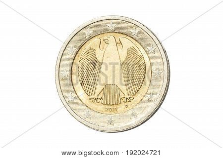 Germany coin of two euro closeup with German eagle, symbol of German sovereignty. Isolated on white studio background.