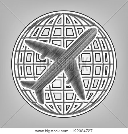 Globe and plane travel sign. Vector. Pencil sketch imitation. Dark gray scribble icon with dark gray outer contour at gray background.