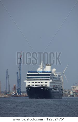 Velsen The Netherlands - June 20th 2017: Azamara Journey - Azamara Club Cruises on North Sea Channel towards Amsterdam Cruise terminal