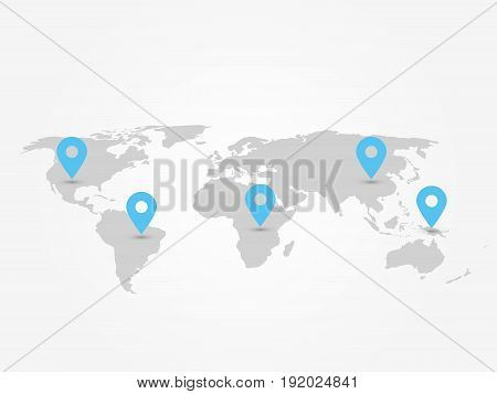 Map of World with navigation pointers. Grey map infographics with blue pins. Vector illustration.