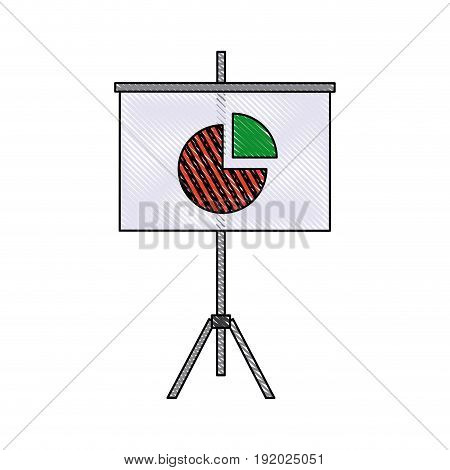 presentation financial board with graph flat icon vector illustration