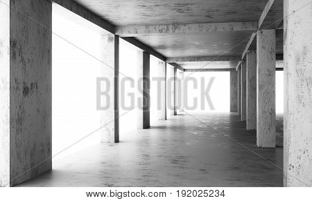 The abstract floor of a modern building under construction with concrete columns and frames in the sunlight. Minimal buildings background.