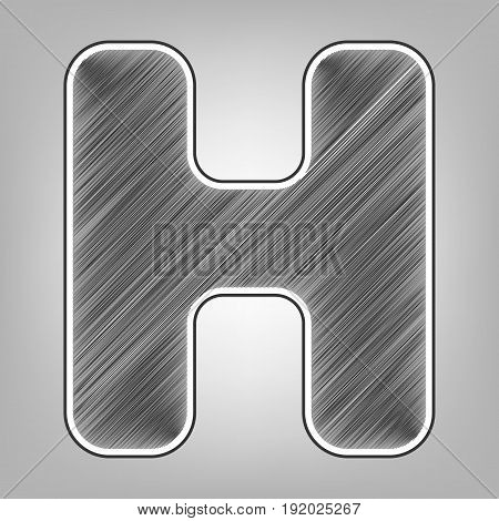 Letter H sign design template element. Vector. Pencil sketch imitation. Dark gray scribble icon with dark gray outer contour at gray background.