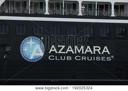 Velsen The Netherlands - June 20th 2017: Azamara Journey - Azamara Club Cruises on North Sea Channel detail of ship