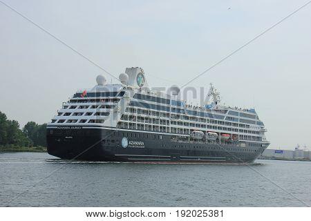 Velsen The Netherlands - June 20th 2017: Azamara Journey - Azamara Club Cruises on North Sea Channel towards Amsterdam Cruise terminal