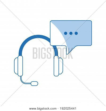 headset with bubble speech service call center vector illustration