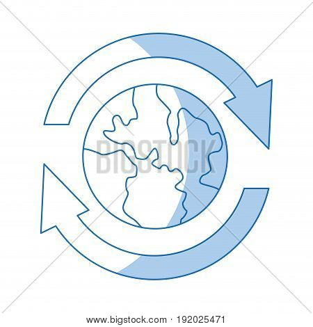 the planet with arrows around in signal communication and business vector illustration