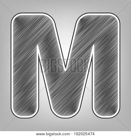Letter M sign design template element. Vector. Pencil sketch imitation. Dark gray scribble icon with dark gray outer contour at gray background.