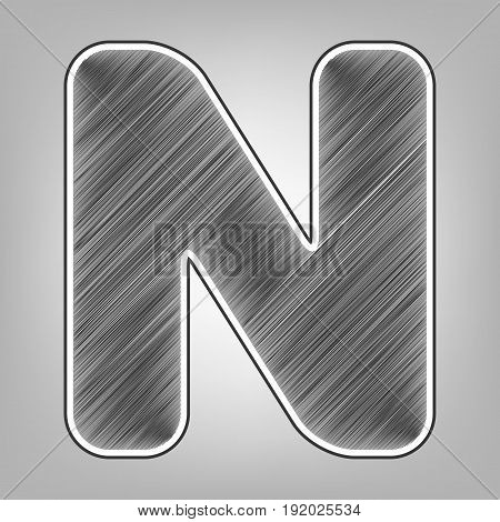 Letter N sign design template element. Vector. Pencil sketch imitation. Dark gray scribble icon with dark gray outer contour at gray background.