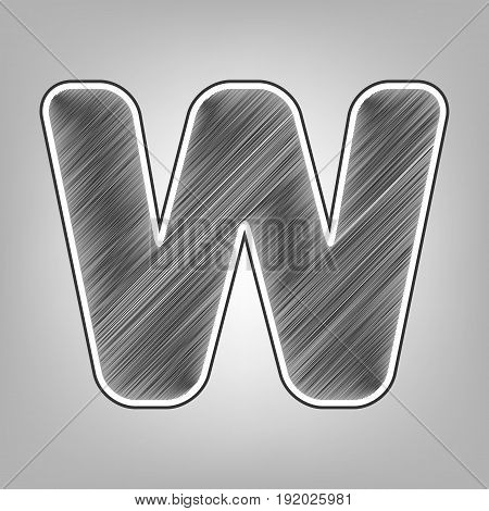 Letter W sign design template element. Vector. Pencil sketch imitation. Dark gray scribble icon with dark gray outer contour at gray background.