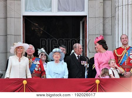 Queen Elizabeth & Royal Family, Buckingham Palace, London June 2017- Trooping The Colour Prince Geor