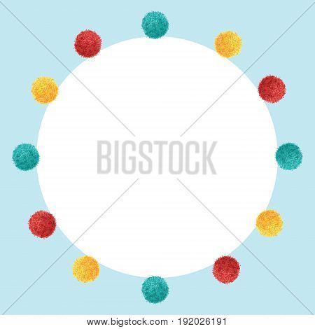 Vector Blue Frame Vibrant Birthday Party Pom Poms Circle Set and Round Backdrop Background. Great for handmade cards, invitations, wallpaper, packaging, nursery designs. Home decor elements.